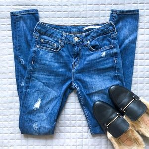 Zara Medium Rise Distressed Skinny Jeans